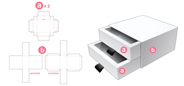 2 drawers box with cover die cut template