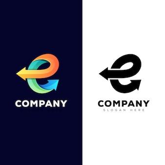 ビジネスロゴ2バージョンの矢印付きの素晴らしい文字e