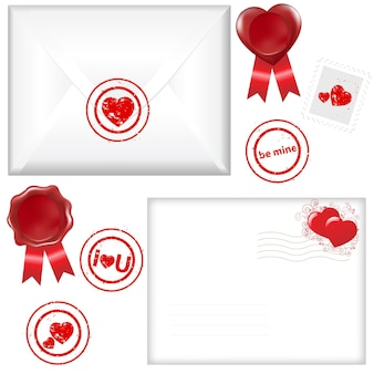2 envelope with a stamp in form of heart, isolated on white background,