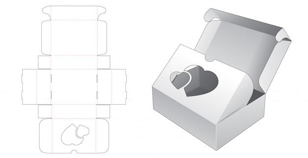 2 flips bakery box packaging with heart window die cut template