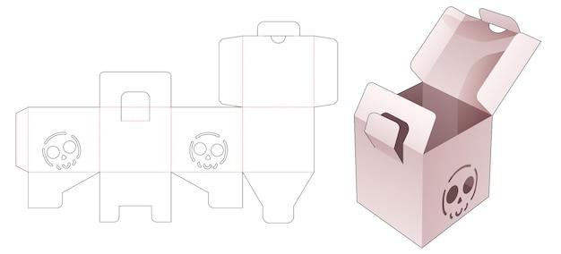ロックされたポイントとステンシルハロウィーンパターンダイカットテンプレートを備えた2つのフリップボックス