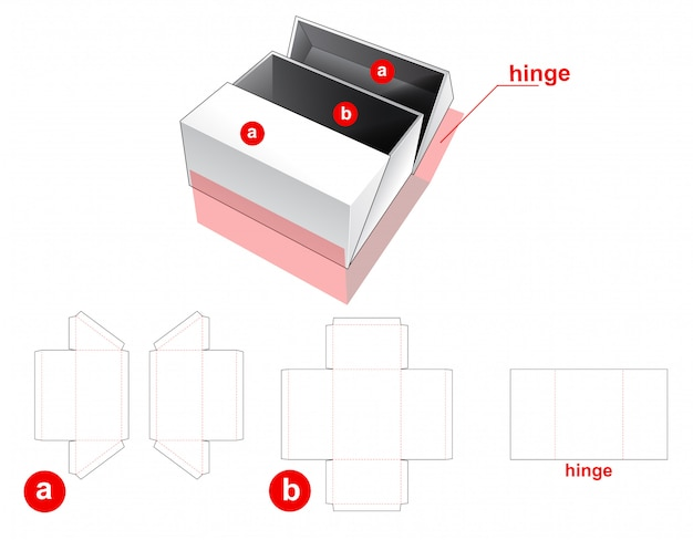 2 flips box with middle opening die cut template