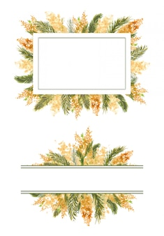 2 geometric frame with mimosa branches on the outer edge on a white isolated background.