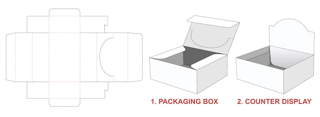 2 in 1パッケージボックスダイカットテンプレート