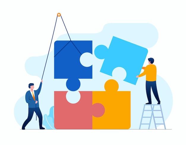 2 juni2021.cdrチームワークビジネスフラットベクトルイラストバナーとランディングページを表すパズルを持つ人々
