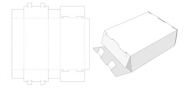 2 lock packaging box die cut template