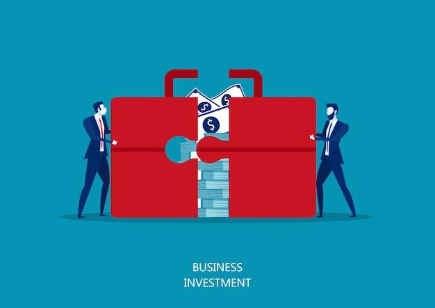 2つのマネージャーは、投資の概念のためのmoney.shareお金で巨大なスーツケースまたはブリーフケースをプッシュします。ベクトル図