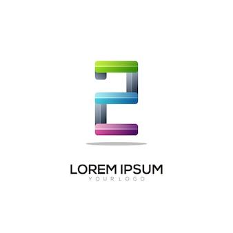 2 number logo colorful gradient illustration