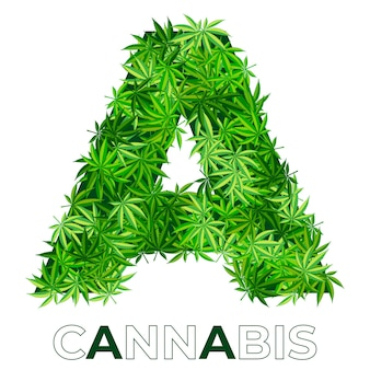 6の2。文字a.大麻またはマリファナの葉のロゴのデザインテンプレート。エンブレム、ロゴ、医療サービスまたはパッケージの広告用の麻。フラットスタイルのアイコン。孤立