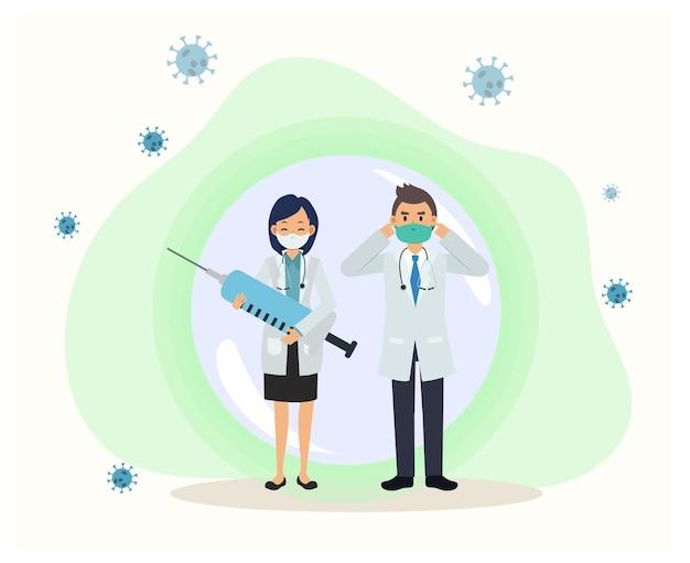 コロナウイルスから彼らを保護するバブルの医師の2人。フェイスマスクを着用してcovid-19を回避する方法を示します。