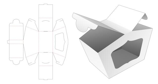 2つの開口部のパッケージボックス、ウィンドウダイカットテンプレート付き