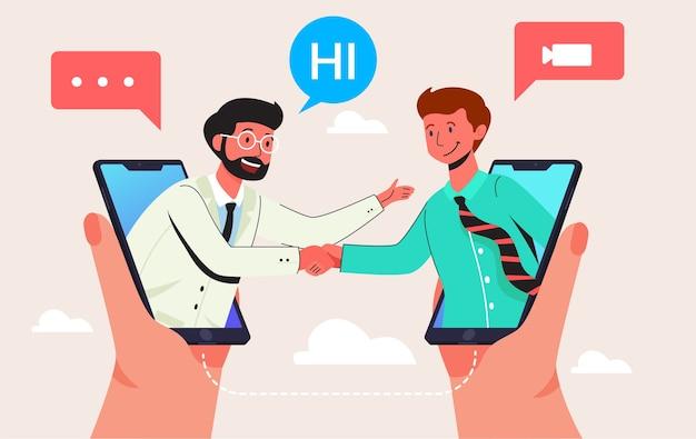 スマートフォン、ウェブサイトのページや背景のモダンなフラットイラストデザインコンセプトで2人のビデオ通話