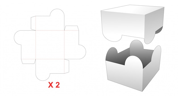 2 pieces rectangular box die cut template