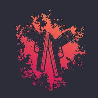 빨간색 스플래시에 권총 2개, 교차 총 2개, 권총이 있는 티셔츠 인쇄, 벡터 일러스트레이션