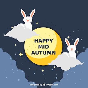 2匹のウサギと満月の秋の祭り