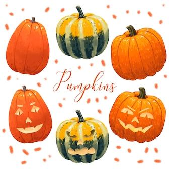 2 обычные тыквы плюс оранжевые и зеленые тыквы на хэллоуин