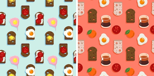 2 seamless pattern of bread, spread, fired eggs, and fruit