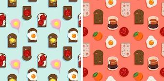 2 Бесшовные шаблон из хлеба, распространение, обжиг яиц, и фрукты