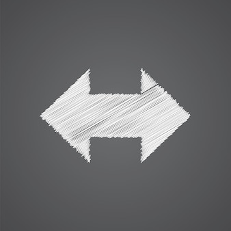 2 side arrow sketch logo doodle icon isolated on dark background