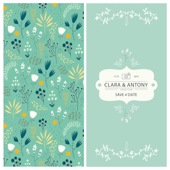 2 sides floral background with hand drawn flowers