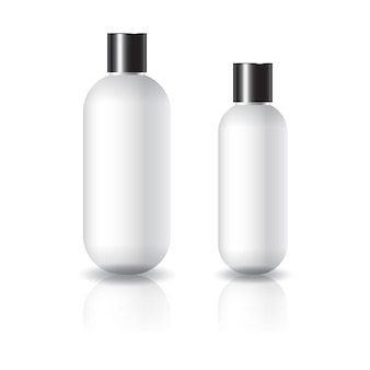 2 sizes of white oval round cosmetic bottle with black plain screw lid.
