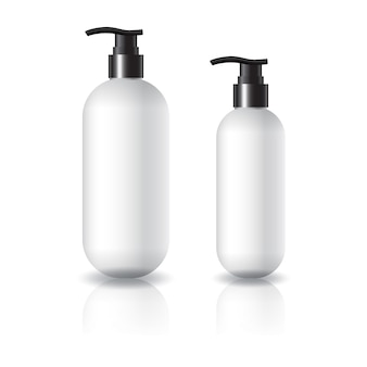 2 sizes of white oval round cosmetic bottle with black pump head for beauty or healthy product.