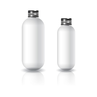 2 sizes of white oval round cosmetic bottle with black screw lid for beauty or healthy product.