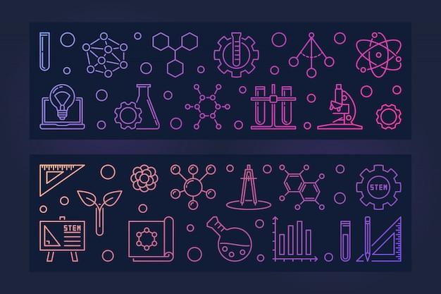 Набор из 2 векторов образования stem цветные линейные баннеры