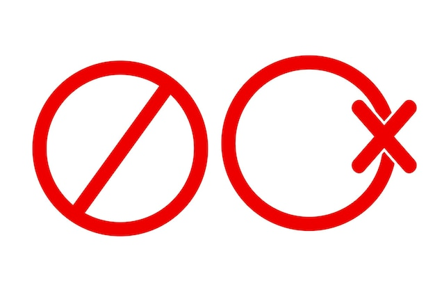 2 style simple vector blank prohibition sign, isolated on white