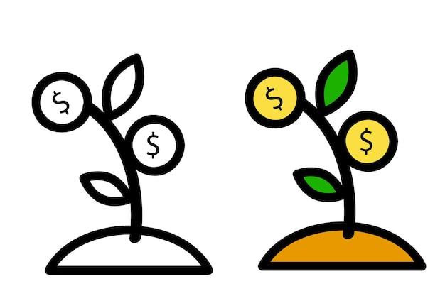 2 스타일, 간단한 벡터 아이콘, 작은 식물, 달러 동전으로 성장 투자를 나타내는,