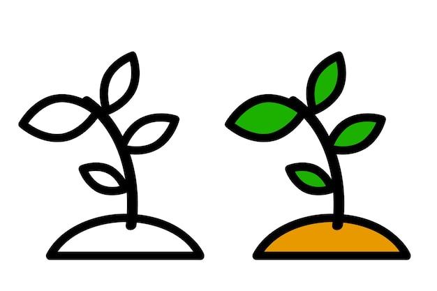 2 스타일, 간단한 벡터 아이콘, 작은 식물, 성장 투자를 나타내는