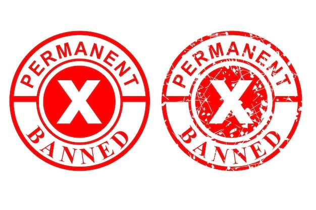 2 스타일 벡터, 깨끗하고 녹슨 빨간 고무 스탬프, 영구 금지, 흰색 절연