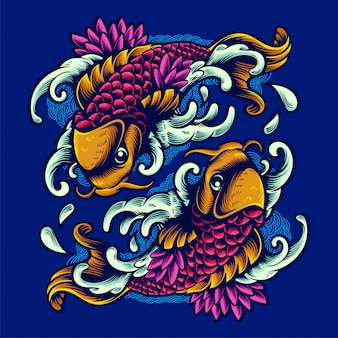 2匹の魚手描き飾りイラストtシャツデザイン