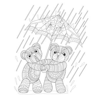 2 teddy bears in raining day in zentangle style