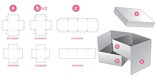 2 tier box and lid die cut template design