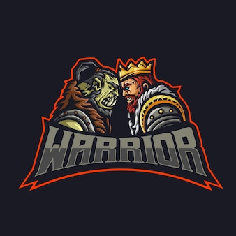 2人の戦士がオークと人間の王と向かい合っています。