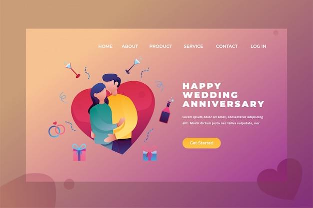 2つのカップルは結婚記念日を祝います愛&関係webページヘッダーランディングページテンプレートイラスト