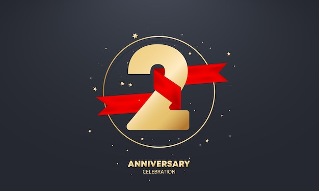2 year anniversary banner with red ribbon on white. two years celebration. poster or brochure template. vector eps 10. isolated on background.