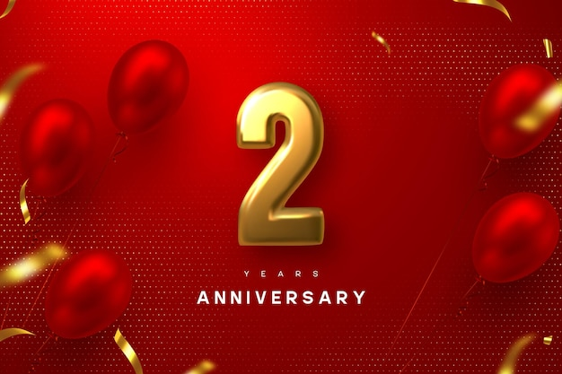 2 years anniversary celebration banner. 3d golden metallic number 2 and glossy balloons with confetti on red spotted background.