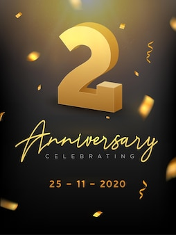 2 years anniversary celebration event. golden vector birthday or wedding party congratulation anniversary two.