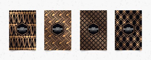 Современный черный и золотой узор арт-деко геометрии стиль текстуры фона. ретро 20-х, ревущие 2020-е