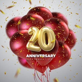 20 anniversary celebration sign with golden numbers and party balloons decoration