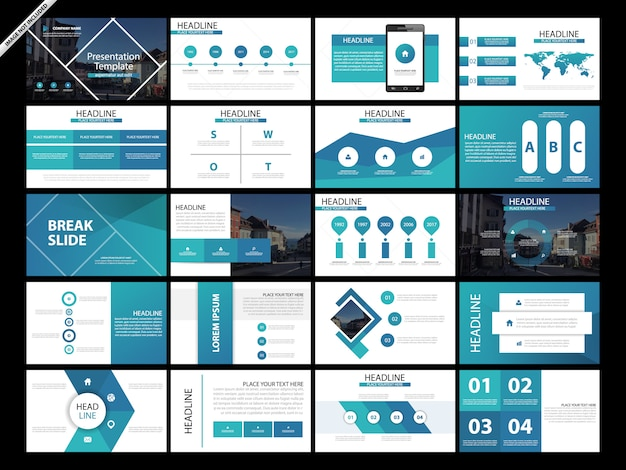 20 bundle presentation slide template set