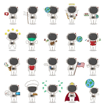 20 collection of cute astronaut with different activities