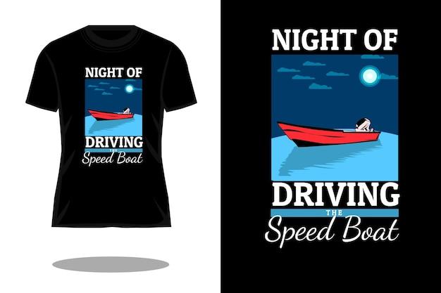20. driving speed boat flat t shirt design