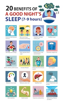 20 health benefits of a good nights sleep infographic vector illustration