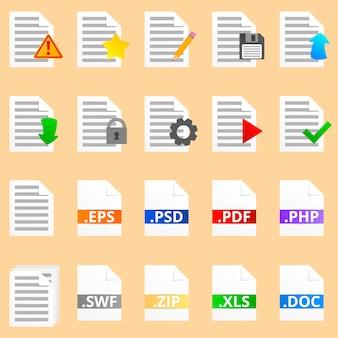 20の詳細なドキュメントアイコンのコレクション。 ile拡張子を持つカラフルな8つのアイコン。