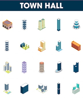 20 isometric set of town hall icon.