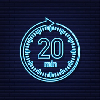 The 20 minutes stopwatch vector neon icon stopwatch icon in flat style
