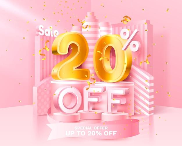 Скидка в 20. дисконтный творческий состав. символ продажи 3d с декоративными предметами, золотым конфетти, подиумом и подарочной коробкой. продажа баннеров и плакатов. векторная иллюстрация.